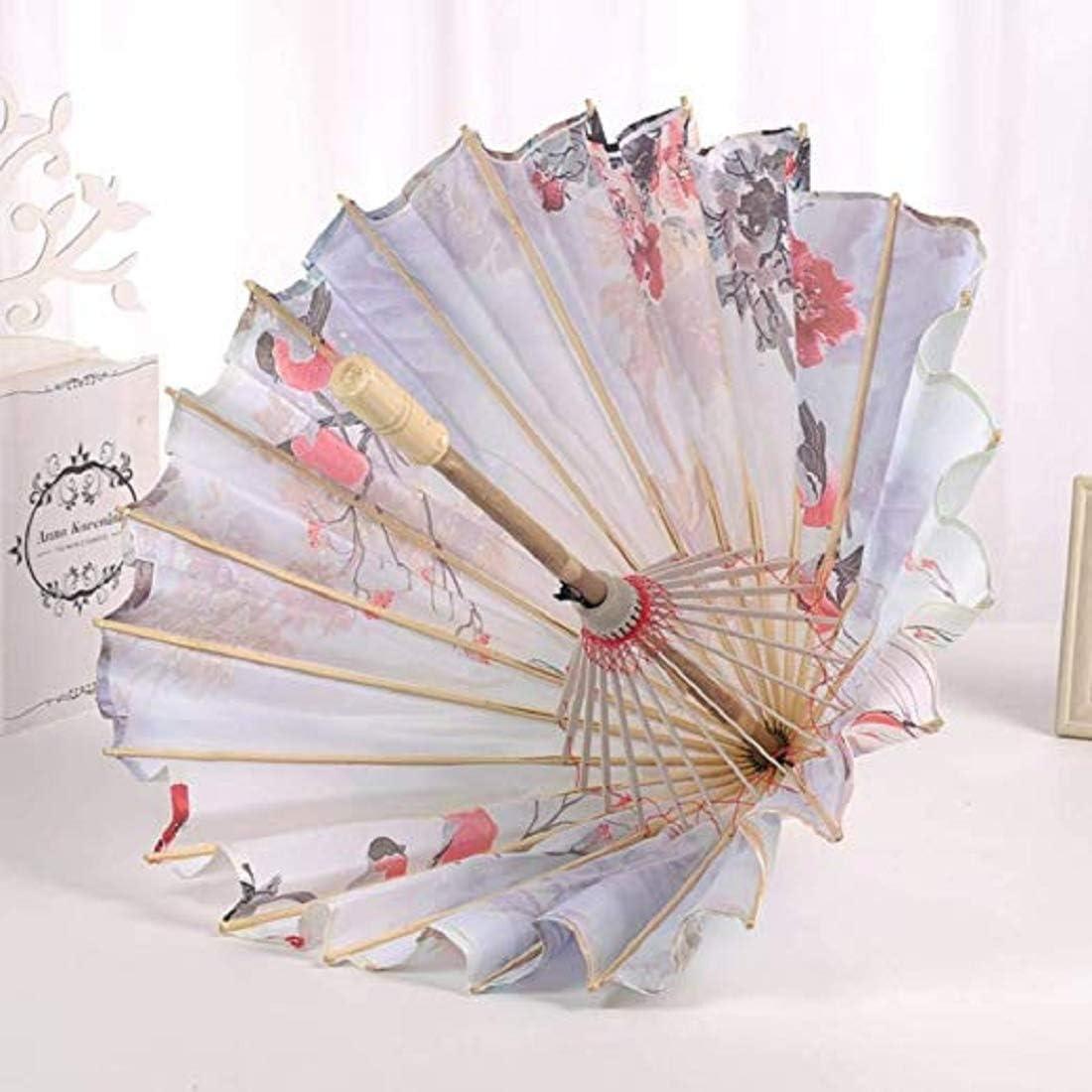 Vennisa Femme Ombrelle Chinoise Fait /à La Main en Tissu Parapluie Parasol Floral Decoratif Accessoires pour Danse Mariage Anniversaire A