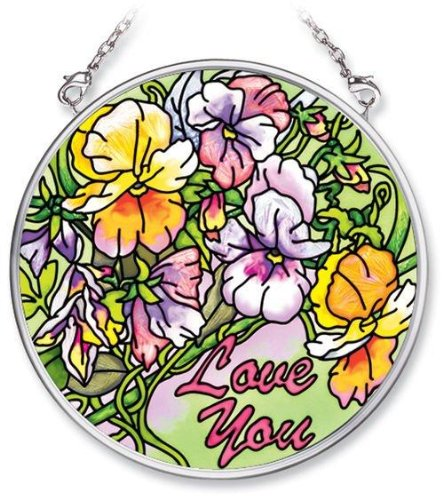 Amia Hand Painted Glass Suncatcher with Pansy Floral Design, Love You, 3-1/2-Inch Circle ()