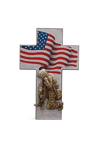 Kneeling Military Soldier with American Flag 9 x 14 Inch Resin Decorative Wall Plaque Cross