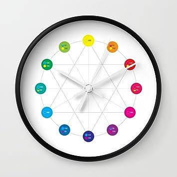 Amazon Com Society6 Simple Color Wheel Wall Clock Black Frame
