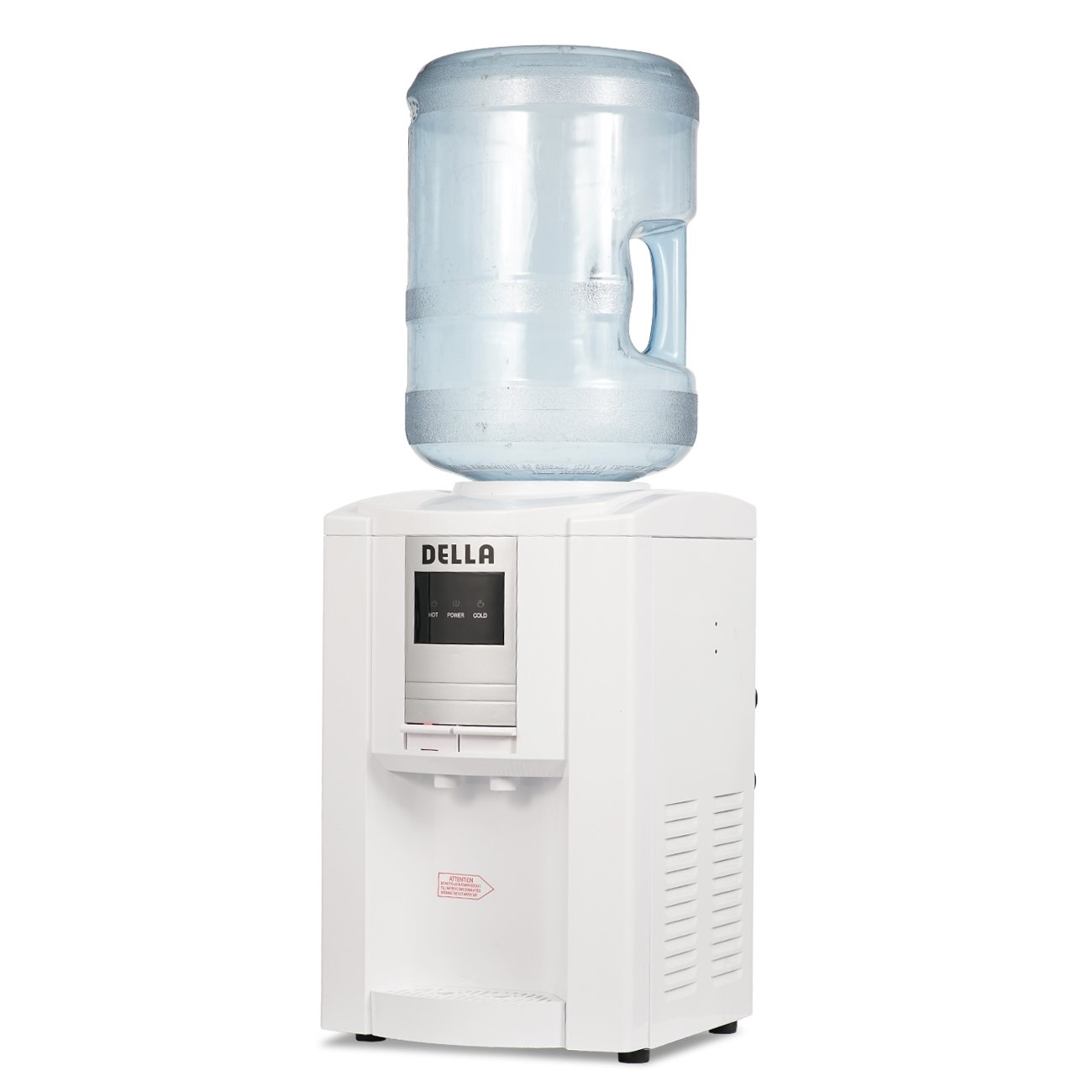 DELLA White Hot Cold Water Dispenser Counter Top Push Button Child Safety Lock Upright Load Spout Function Home Office