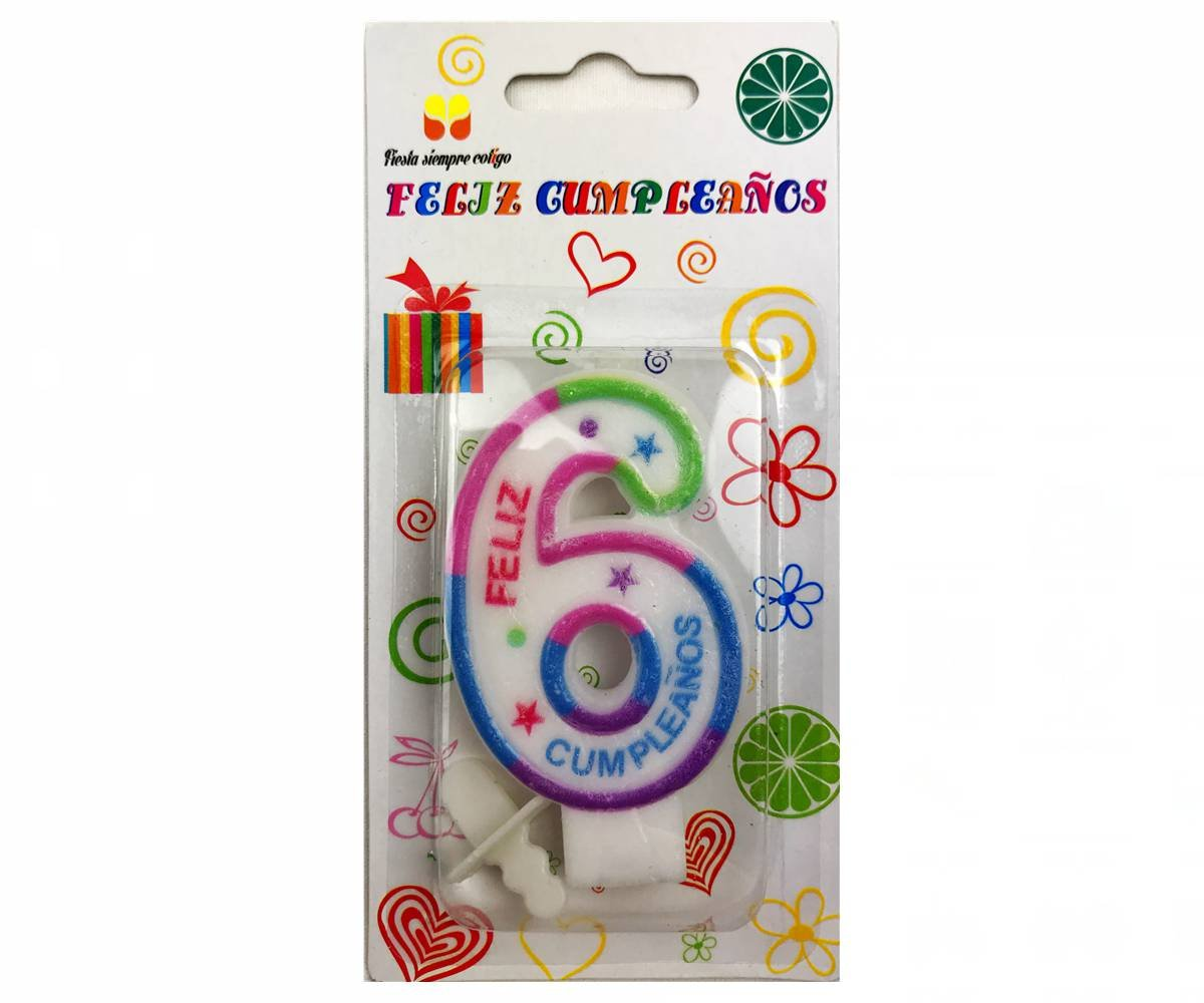 Cotigo- Vela de Cumpleaños de Número 6: Amazon.es: Juguetes ...