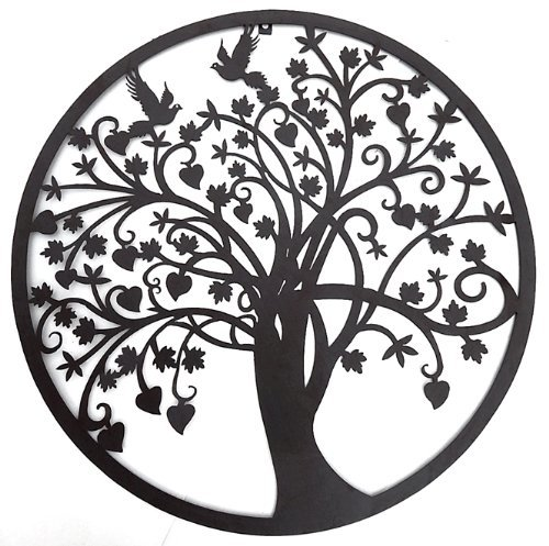 (Bellaa 20193 Tree of Life Metal Wall Art Laser Sculptures 24