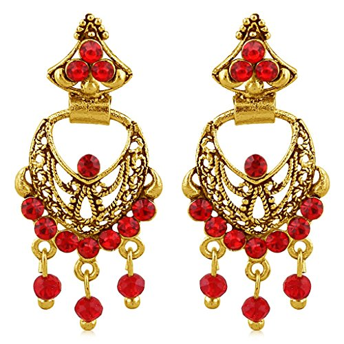 Sukkhi Excellent Gold Plated Red Studded Chandbali Stone Ear