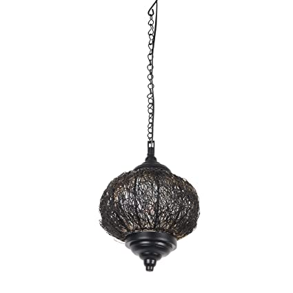 Kinora KI-MEL-1001 Hanging Patterned Lamp (Metallic, Oval Shape) Fixtures at amazon