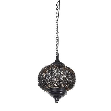 Kinora KI-MEL-1001 Hanging Patterned Lamp (Metallic, Oval Shape) Fixtures at amazon