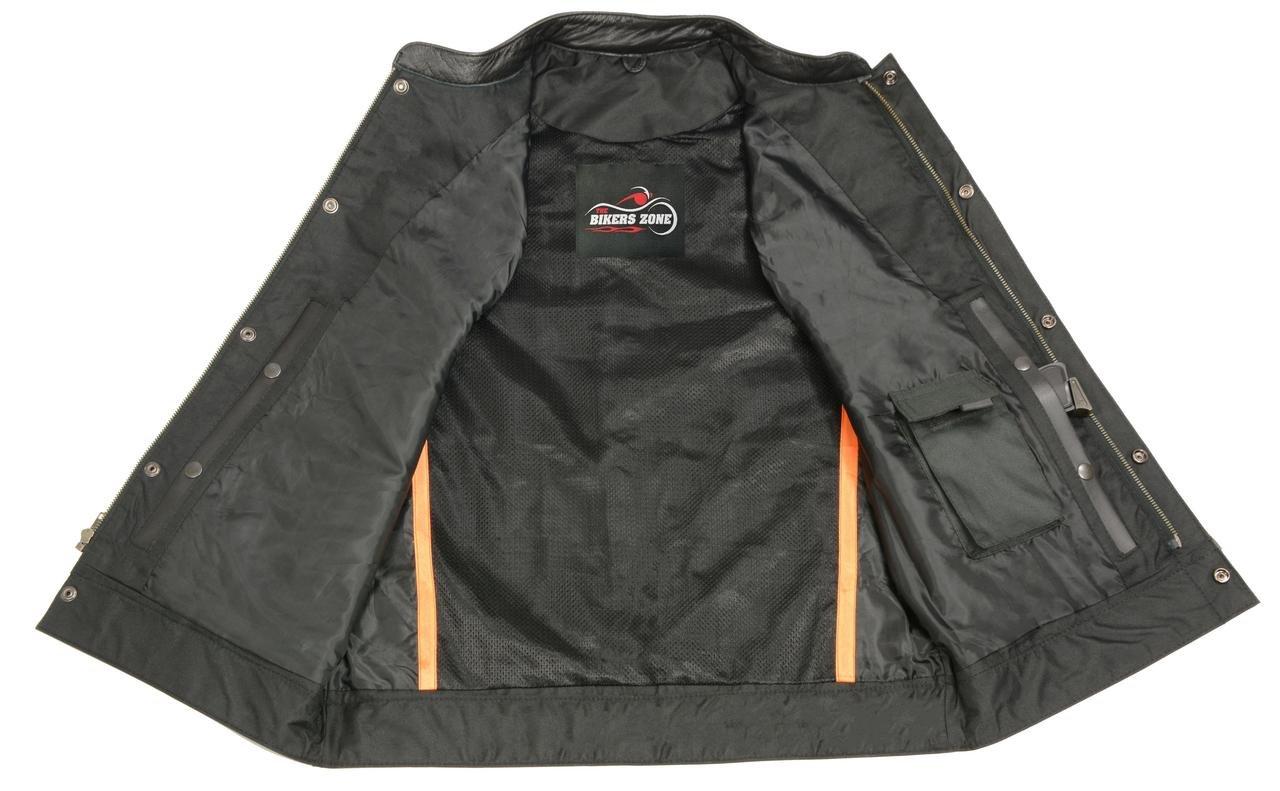 Mens SOA Leathe Club Style Vest W/ Concealed Gun Pockets, Side Lace, Premium Buffalo Leather Biker Vest, Patches Friendly (Black, M)