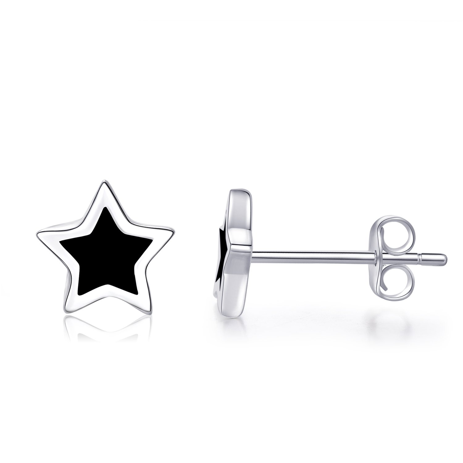 EVERU Black Star Stud Earrings Sterling Silver for Men and Women