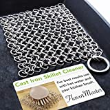 FlavorMaster Cast Iron Skillet Cleaner Chainmail Scrubber for Cast Iron Pans Removes Burnt-On Crusty Dried Food