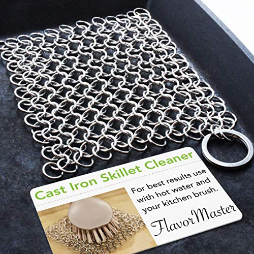 (FlavorMaster Cast Iron Skillet Cleaner Chainmail Scrubber for Cast Iron Pans Removes Burnt-On Crusty Dried Food)