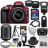 Nikon D3300 Digital SLR Camera & 18-55mm G VR DX II (Red) with 55-200mm VR II Lens + 32GB + Case + Tripod + Flash + LED ...