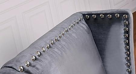 Tov Furniture Tribeca Velvet Chair, Grey
