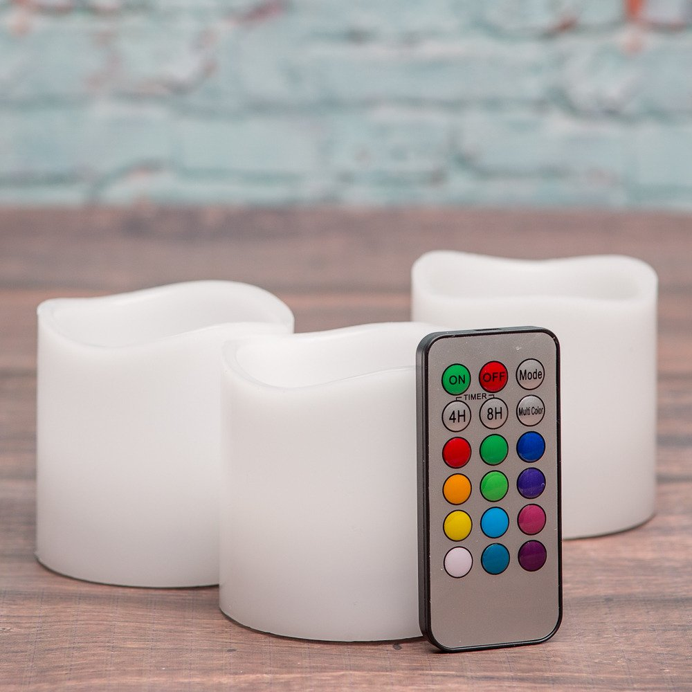 Richland Wavy Top Flameless LED Pillar Candles White 3'' x 3'' with Remote Control Set of 24