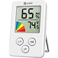 Humidity Meter,[Upgrade Time Clock] Habor Digital Hygrometer Indoor Thermometer Humidity Monitor, Room Thermometer 12/24 Hour Time Clock,Multifunctional Hygrometer for Home, Babyroom,Office,Greenhouse, Cellar