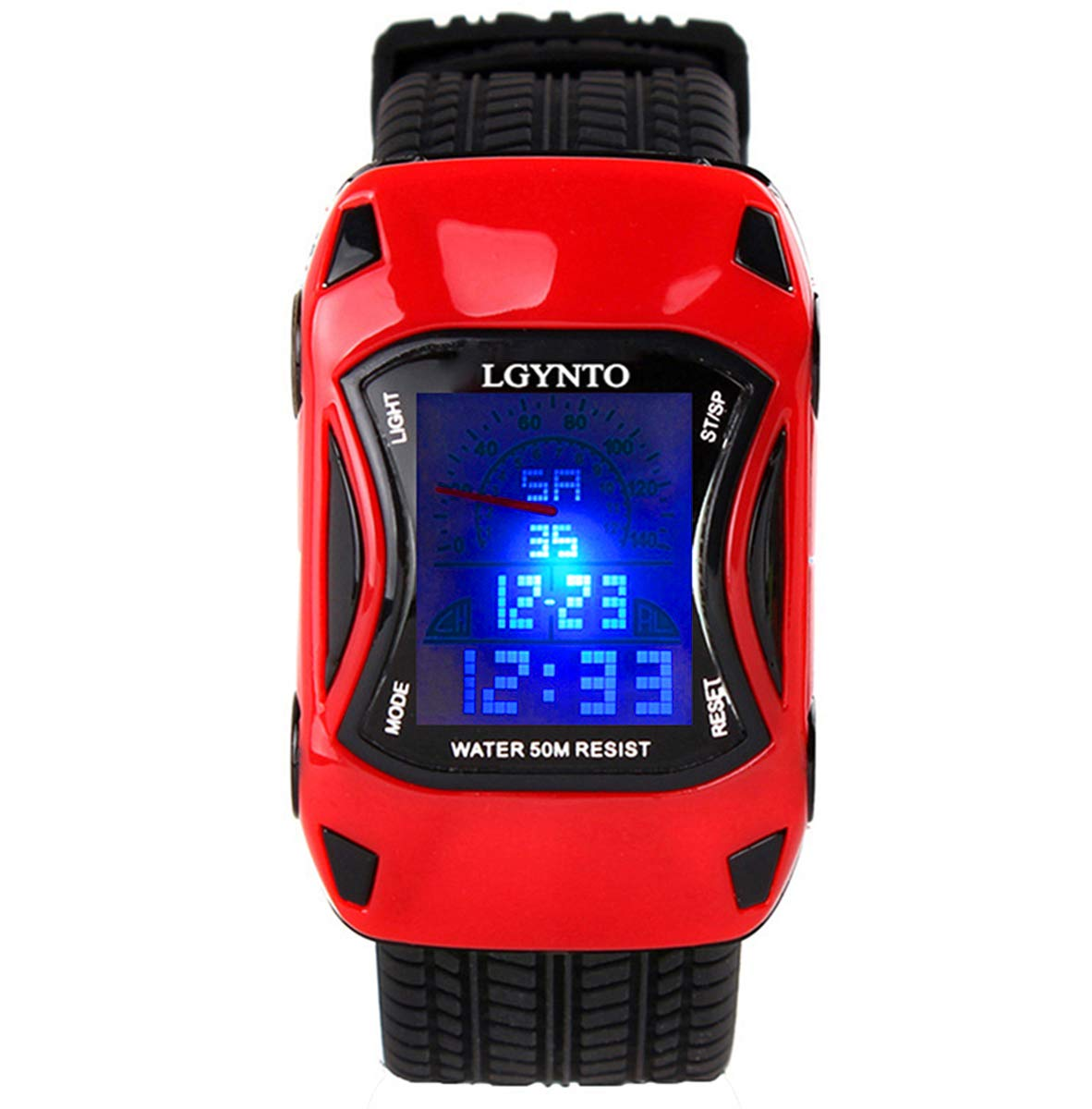 Kids Watches Boys Waterproof Sports Digital LED Wristwatches 7 Colors Flashing Car Shape Wrist Watches for Children,for Age 3-10 (Red) by LGYNTO