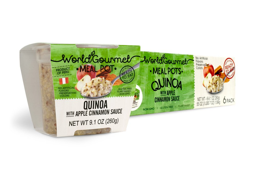 Quinoa Ready To Eat Meal By World Gourmet | Complete Plant-Based Protein Perfect for Breakfast, Lunch or Dinner Packed With A Delicious Apple Cinnamon Sauce (Pack of 6) by World Gourmet (Image #1)