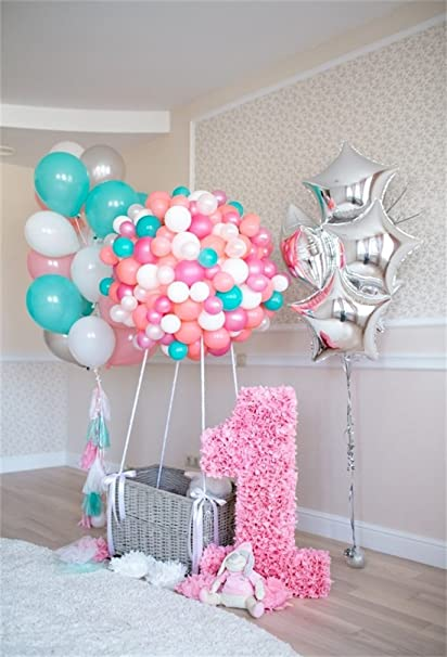 AOFOTO 5x7ft Sweet Baby 1st Birthday Backdrop Newborn 1 Year Old Party Decoration Balloons Interior Photography