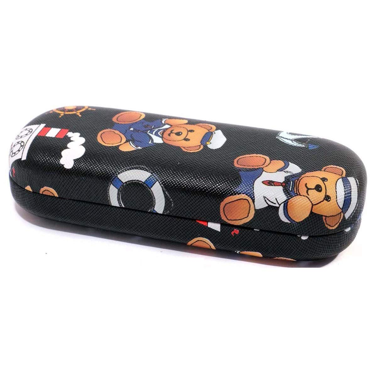 Handmade Russian Glasses case for a boy, black with a color print, on a solid basis, covered with artificial leather
