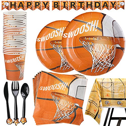Price comparison product image 177 Piece Basketball Party Supplies Set Including Banner, Plates, Cups, Napkins, Cutlery, and Tablecloth, Serves 25