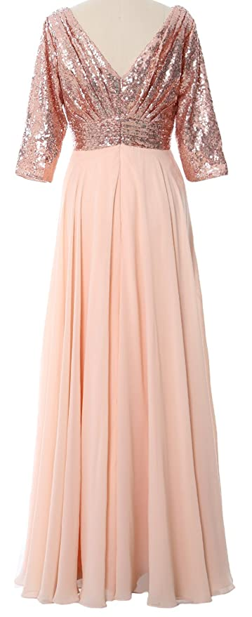 719b9bbc65 MACloth Women 3 4 Sleeve V Neck Formal Evening Gown Sequin Mother of Bride  Dress at Amazon Women s Clothing store
