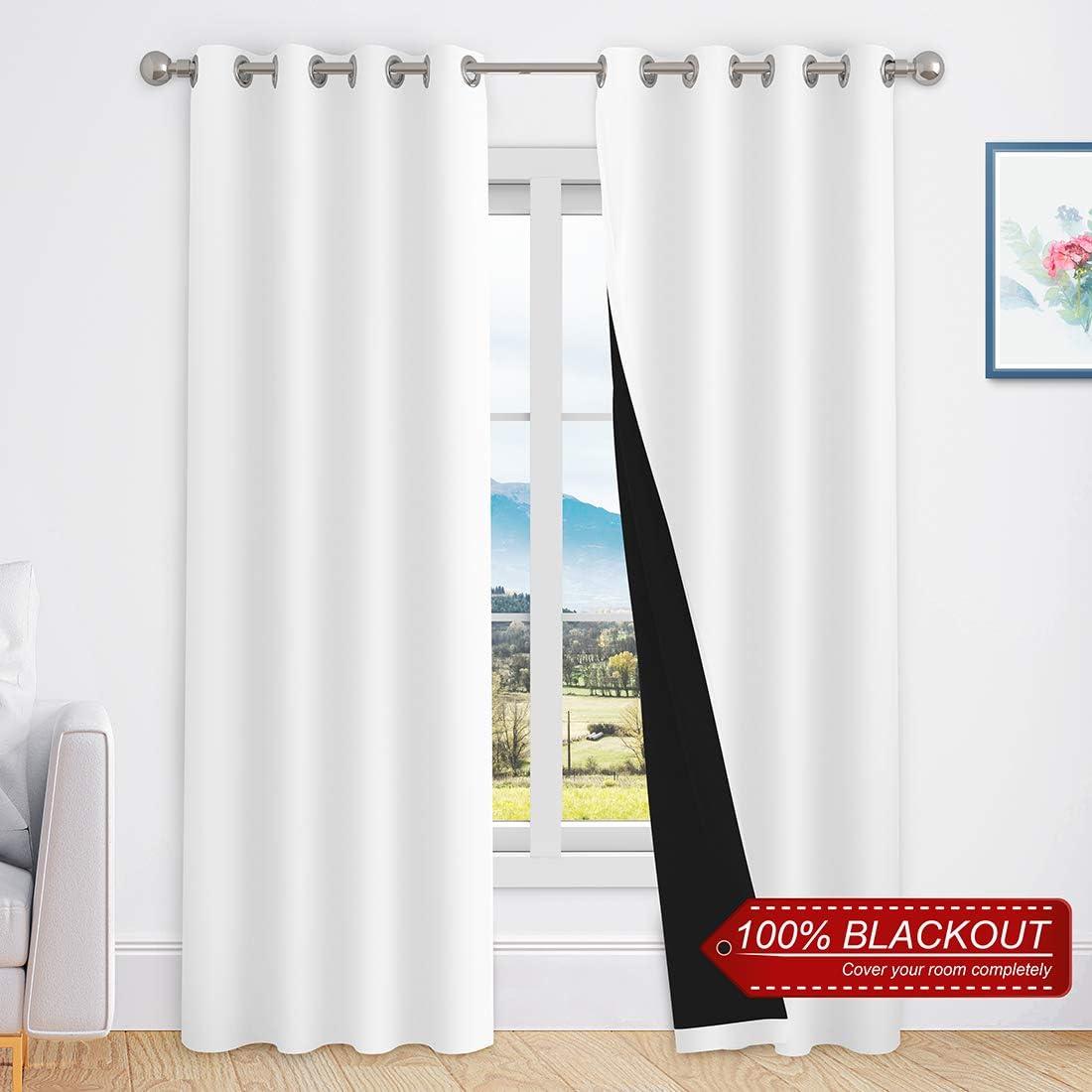 YUDSUD Full Blackout Curtain Panels for Bedroom,livingroom,Infant Room,100 Shading Drapes,Privacy Protection Noise Reducing,Full Light Blocking Panels,2 Panels 52 W x 72 L, White
