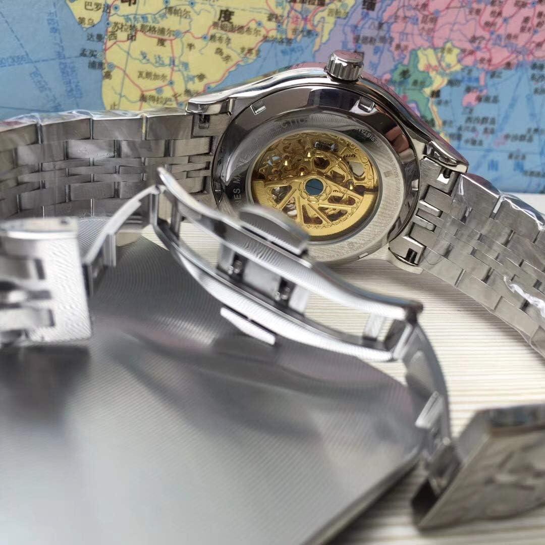 GFDSA Top Mens Horloge Roestvrij Staal Automatische Mechanische Skeleton Doorboord Holle Transparant Glas Terug Horloges 2