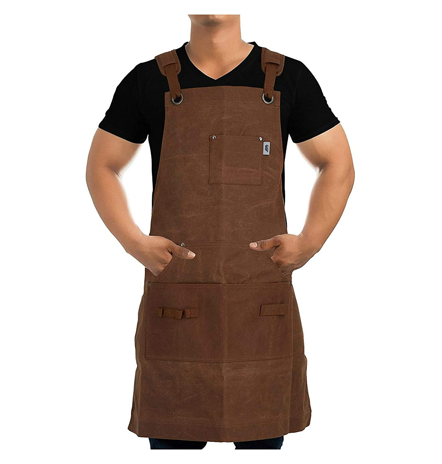 Work Apron For Men Women By Premium Rhino Heavy Duty Waxed Canvas Multiple Tools Pockets Adjustable Unisex Sizing For Woodworking Painting Crafting Cooking Bartenders Brown