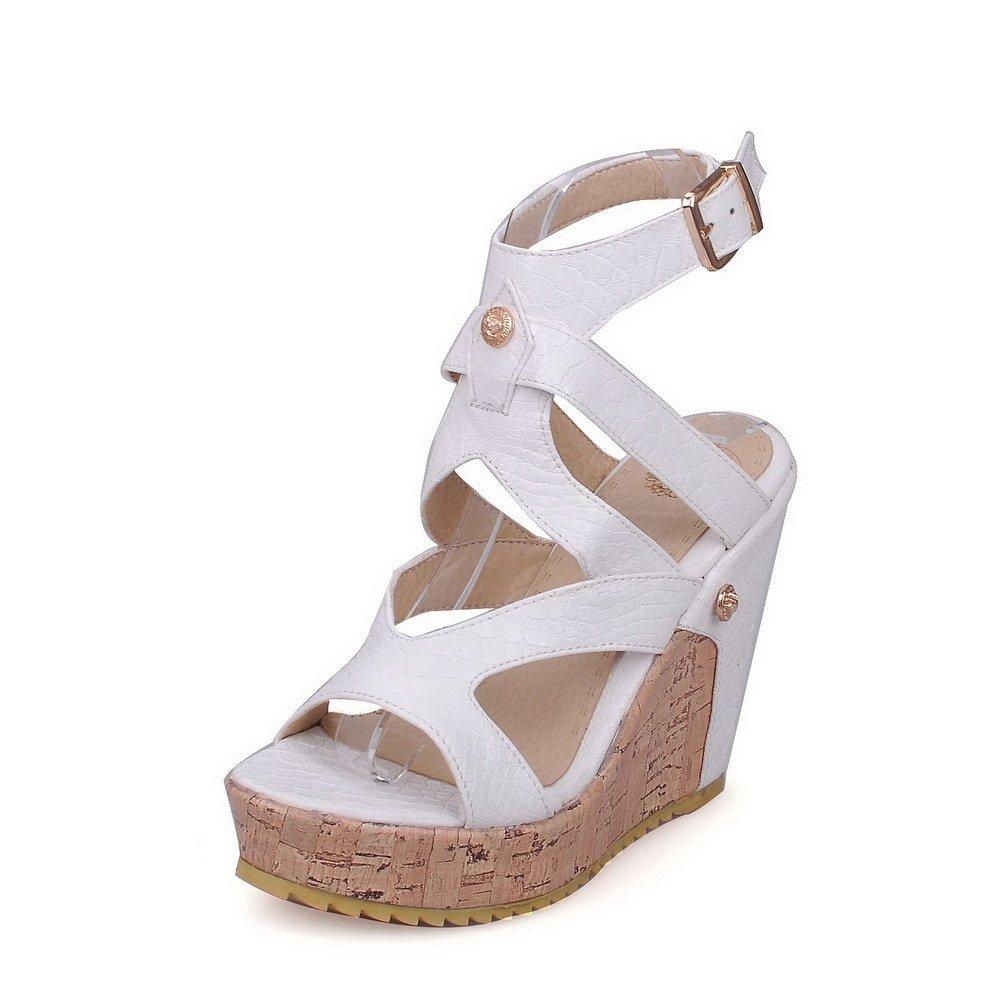 AllhqFashion Women's Buckle PU Open Toe High-Heels Solid Platforms & Wedges, White, 40