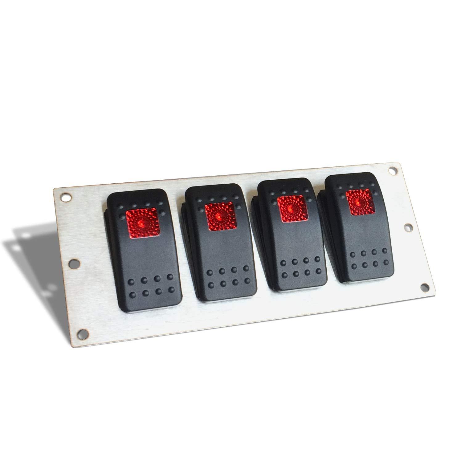 Extreme Max 3006.6809 Marine Grade 12V Toggle Switch Panel 5 Toggle Switches /& 1 Hermit DC Socket