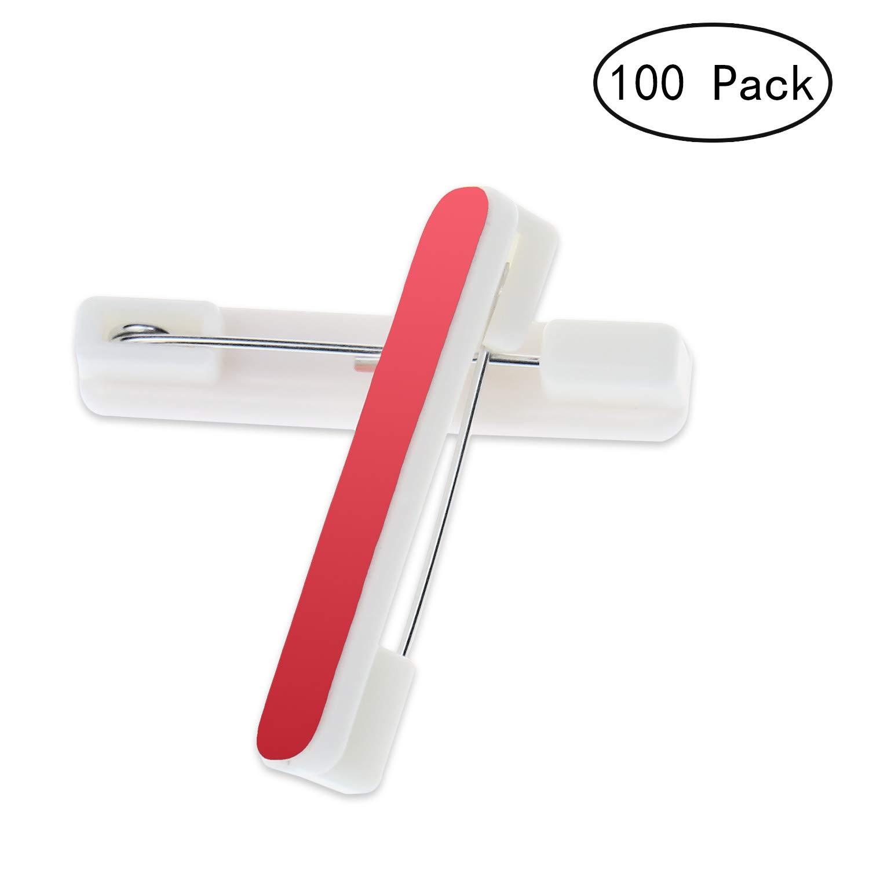 Alater Adhesive Pin Backs-100 Packs Adhesive Back Safety Bar Pins Badge Crafting Parts, 1.5 Inch
