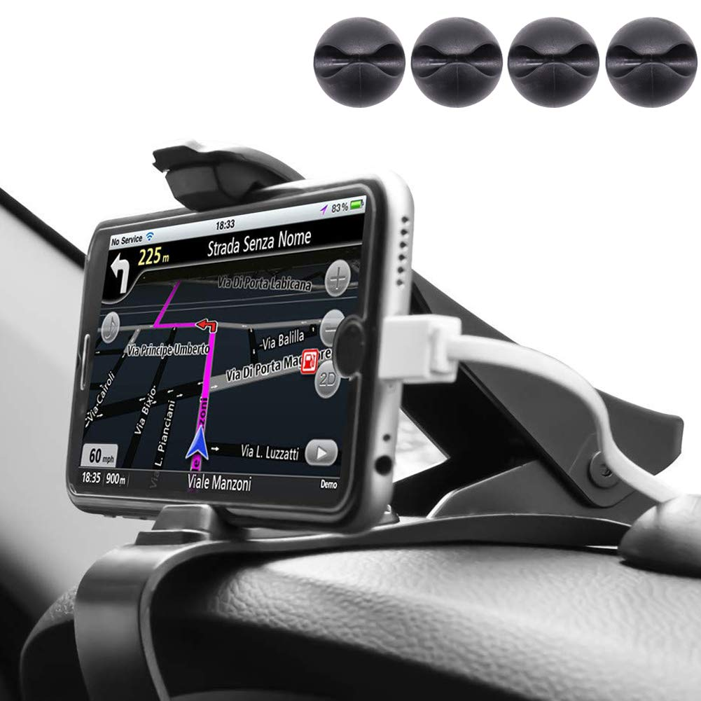 ZOORE Soporte Teléfono Coche para Salpicadero, HUD Soporte Móvil Coche GPS, Pinza Fuerte de Base Titular Móvil Vehícul Compatible iPhone 6/6s/5/7/8Plus/X, Huawei, Samsung, HTC LG 3.0