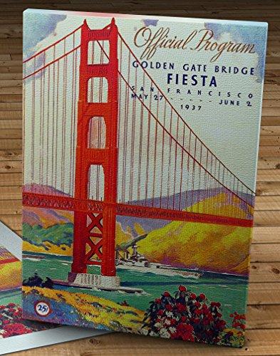 1937 Vintage San Francisco Golden Gate Bridge Fiesta Program - Canvas Gallery Wrap - 10 x 14