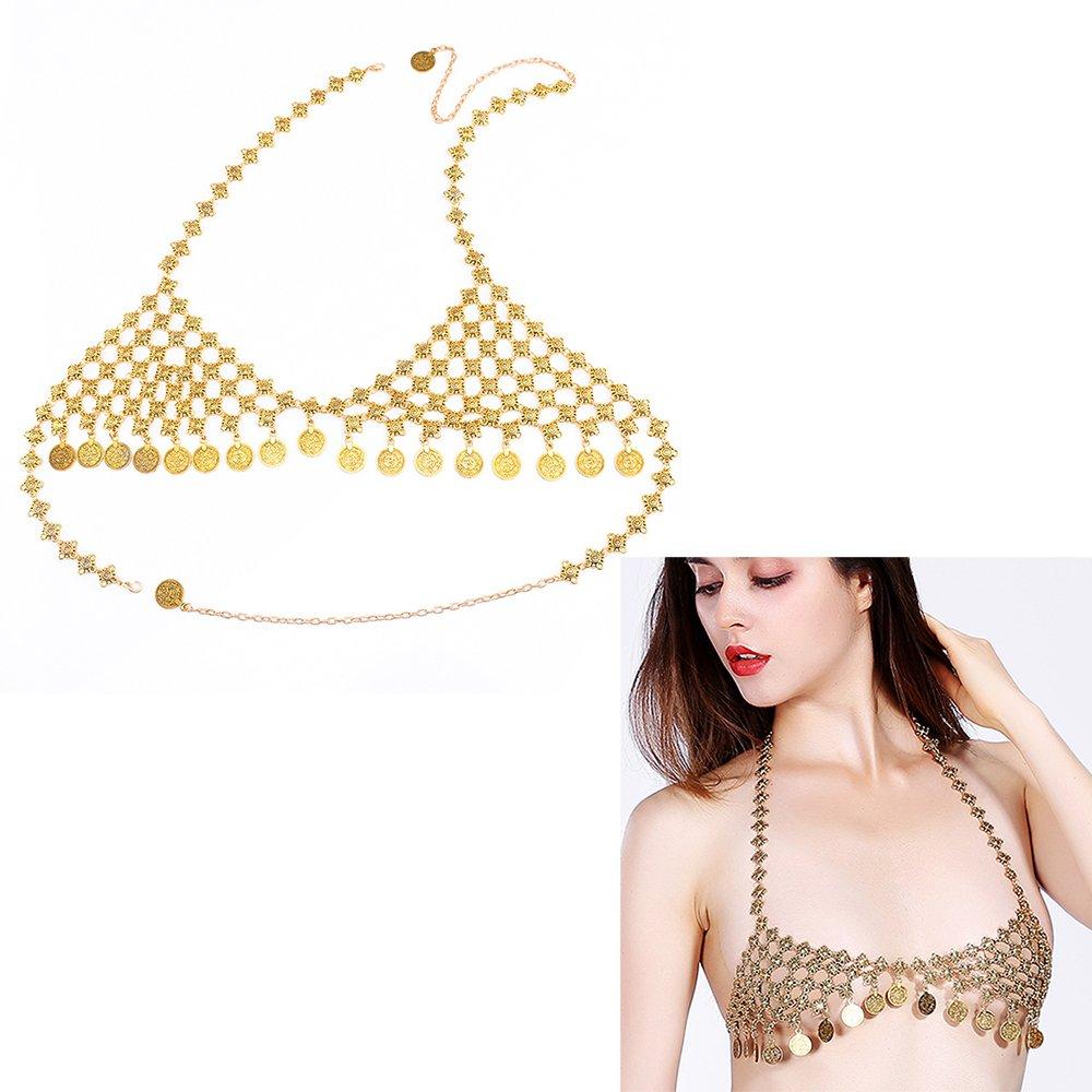 8ccbc0c3434f2 Amazon.com  Qiuqian Women Chest Underwear Body Jewelry Belly Chains Gypsy  Bohemian Coins Tassel Bikini Bra Brief Chain for Beach Club Party  Jewelry