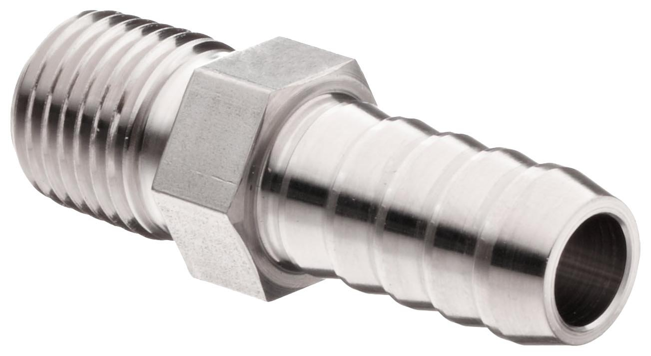 Parker 6-4 B2HF-SS Stainless Steel 316 Barbed Hose Fitting, Adapter, 3/8'' Hose ID X 1/4'' Male NPT