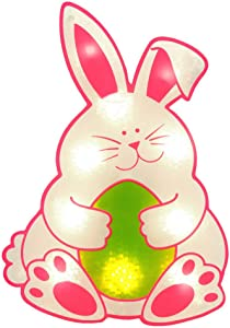 Impact Innovations Easter Shimmer Lighted Window Decoration, Bunny with Egg