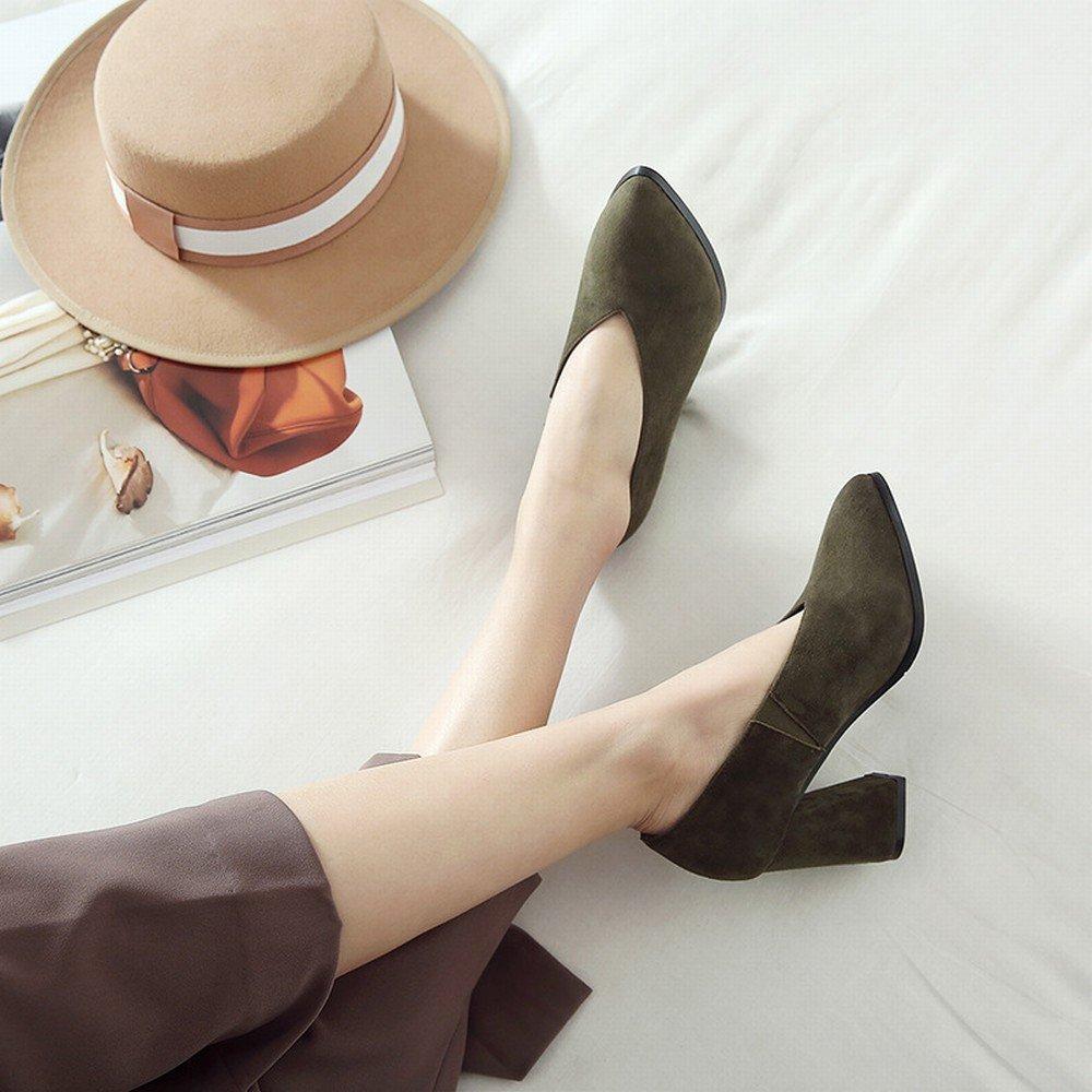 DHG Faule Schuhleder-Schuhfrauen des Frühlingsfrühling-Hohen Absatzes Scheuern Raues mit OL-Schuhen Army Grün 8 5 cm mit 38