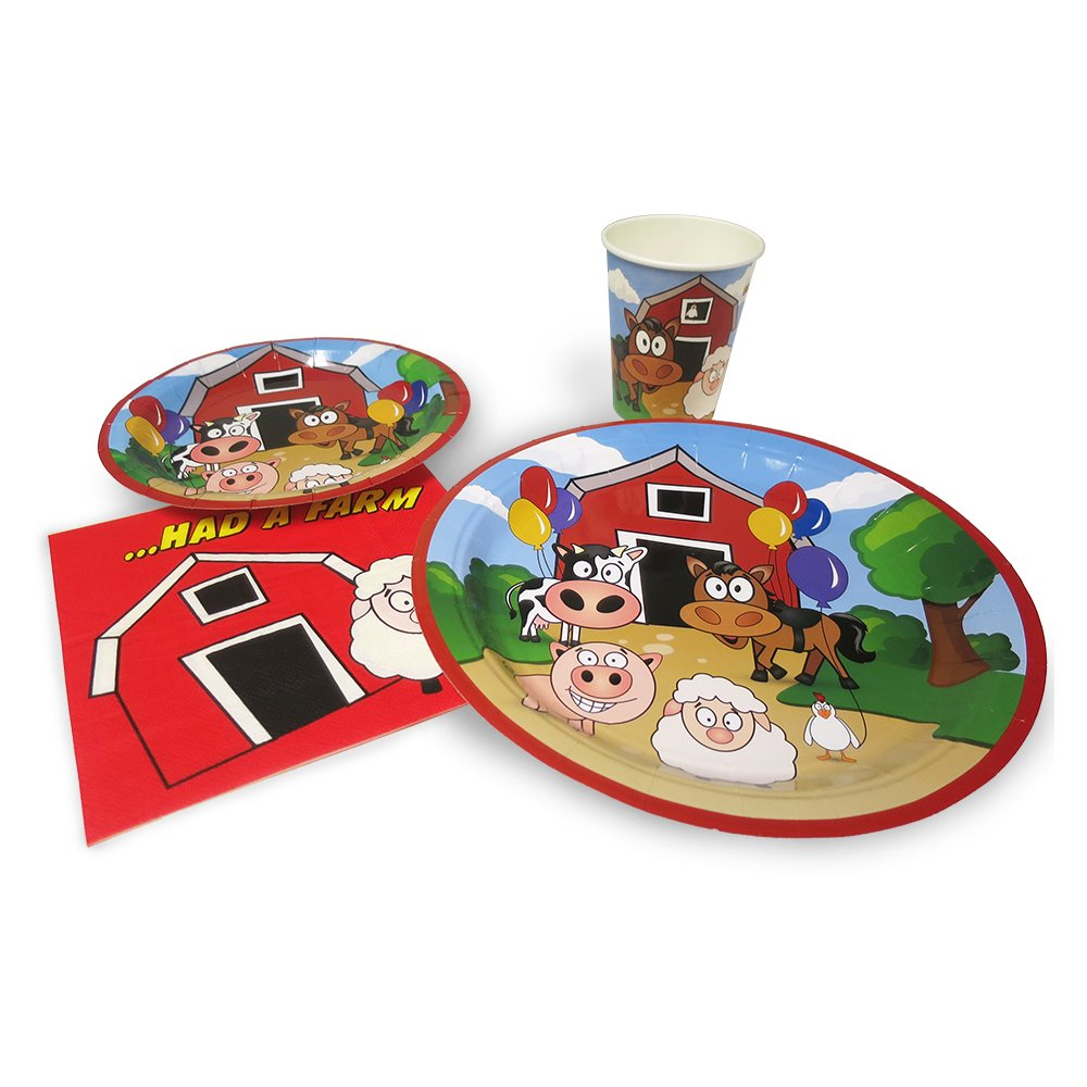 Blue Orchards Farm Standard Party Packs (65+ Pieces 16 Guests!), 1st Birthday Party Sets, Farm Party Supplies, Decorations