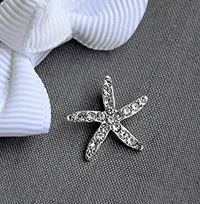 10 Rhinestone Buttons Crystal Starfish Beach Wedding Brooch Bouquet Invitation Cake Decoration Bridal Hair Comb Shoe Clip BT523