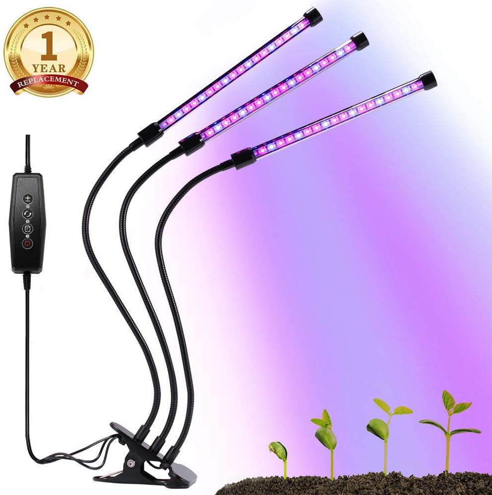 Growing Lamps, Grow Light for Indoor Plants, 3 6 12H Timing, 27W Plant Grow Lamp with 36 Red and 18 Blue LED Spectrum, 5 Dimmable Levels, 3-Head Adjustable Gooseneck Divide Control