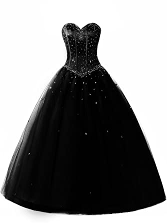 cdedc6fe5a6a SDRESS Women's Rhinestones Princess Lace-up Puffy Ball Gown Formal Special  Occasion Party Dresses Black
