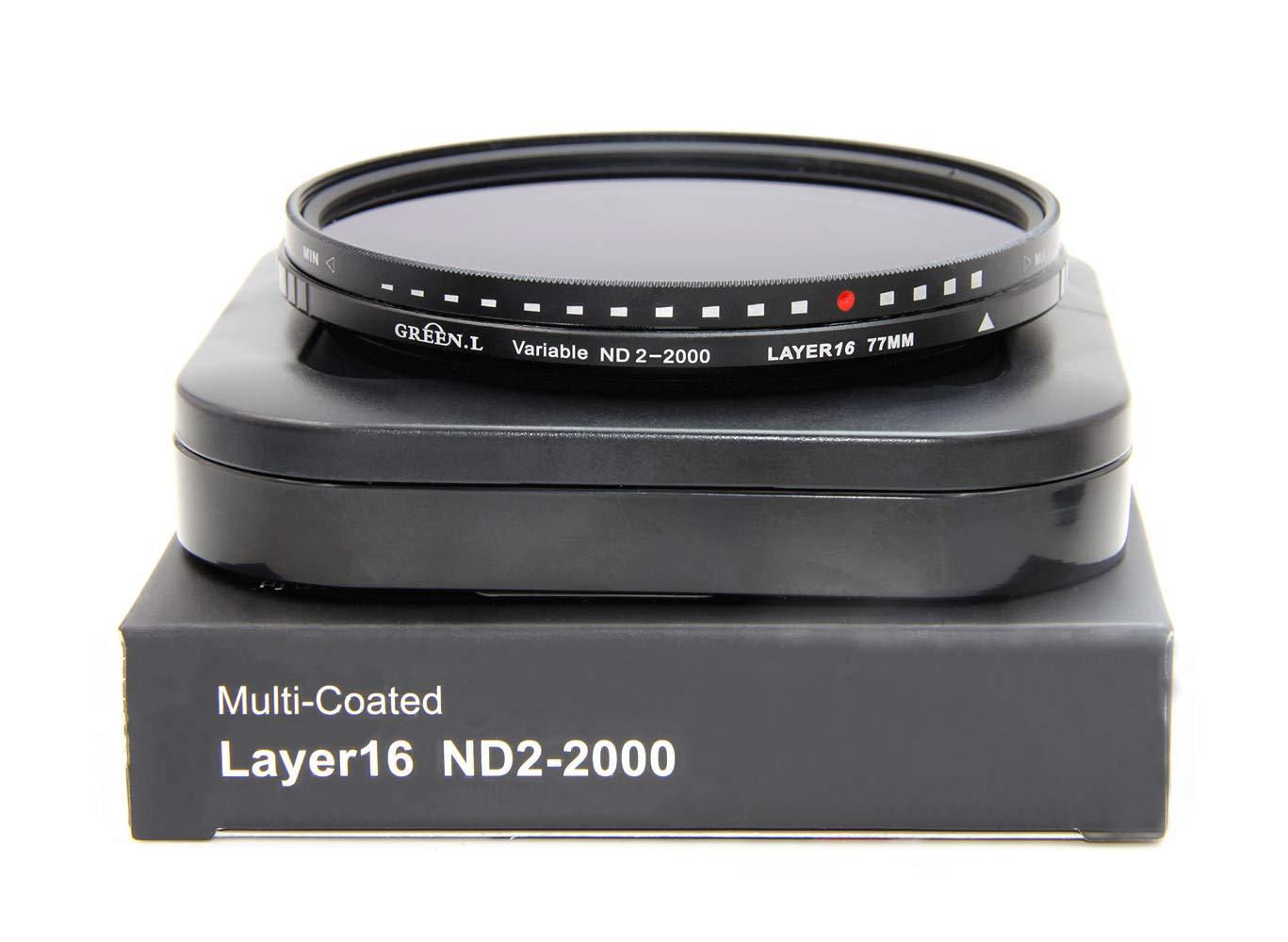 GREEN.L 77mm Variable ND Filter ND2-2000 Neutral Density Filter Nano Coating MRC18-Layer Schott Optics Glass by Green-L