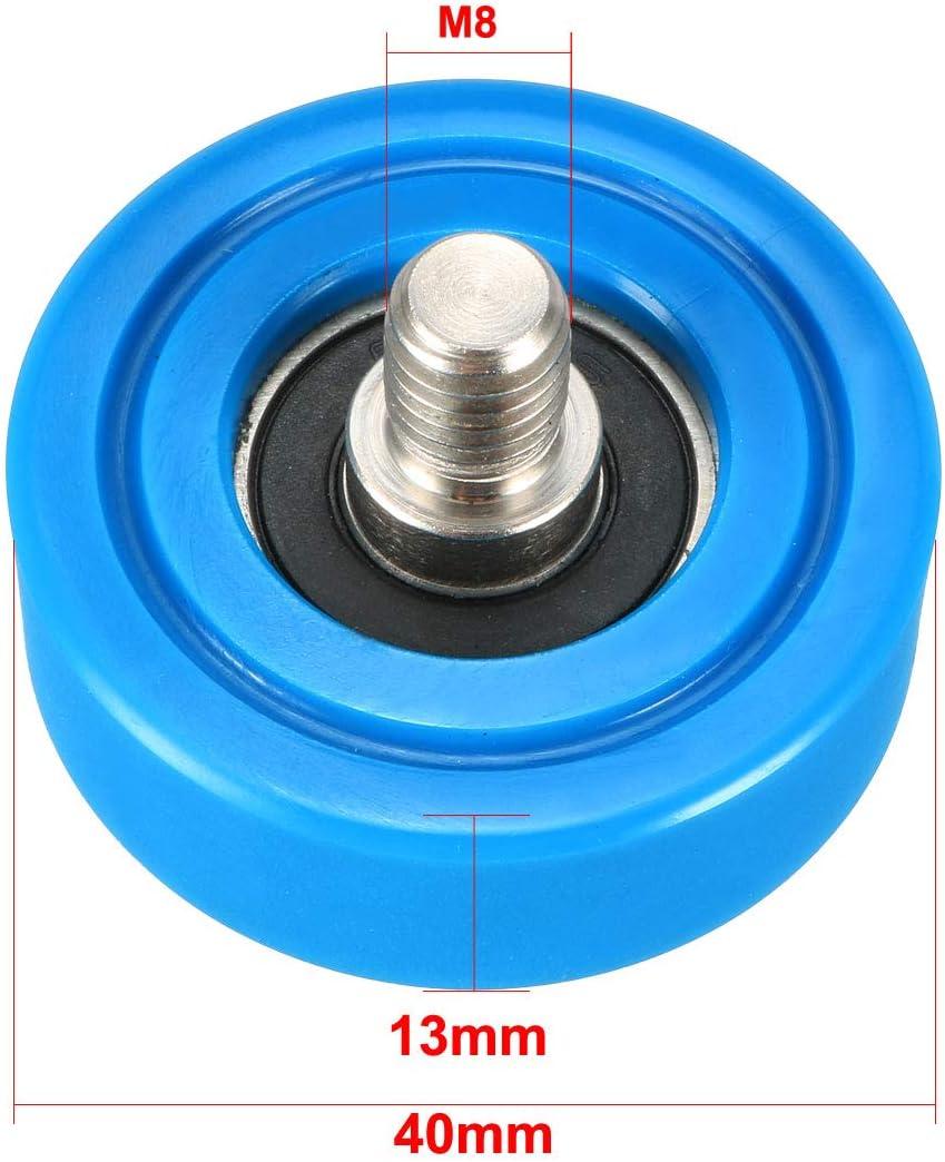 uxcell 2pcs 40x13x1mm Roller Idler Bearing Pulley Sliding Conveyor Wheel Threaded Rod M810 Blue