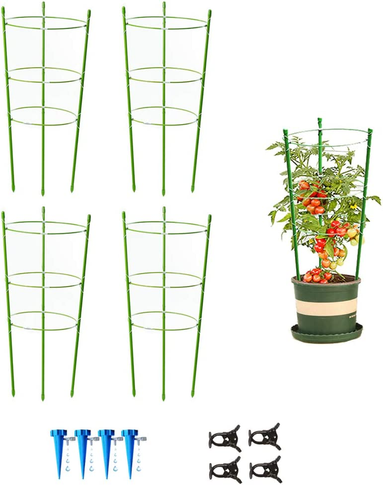 "4 Pack Garden Plant Support Tomato Cage, Upgrade 24"" Trellis for Climbing Plants, Plant Trellis Kits with 4 Self Watering Spikes and 20 Plant Clips (24"")"