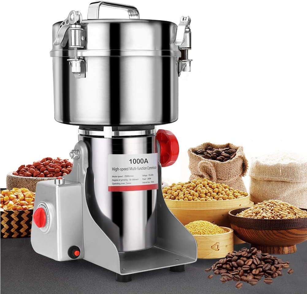 SLSY 1000g Electric Grain Grinders Mill Machine for Home Use, 304 Stainless Steel Grain Grinding Machine for Wheat Flour Grains, Commercial Powder Machine