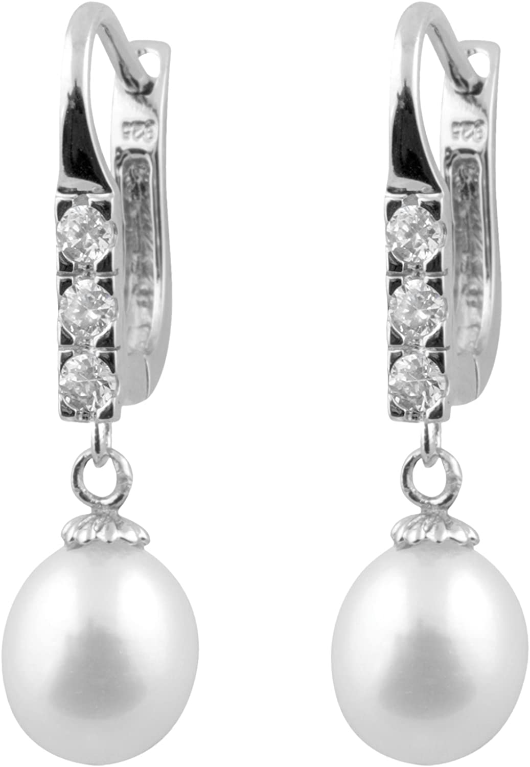 Handpicked 7.5-8mm Freshwater Cultured Pearls 925 Sterling Silver Drop Dangling Earrings with CZ Accent