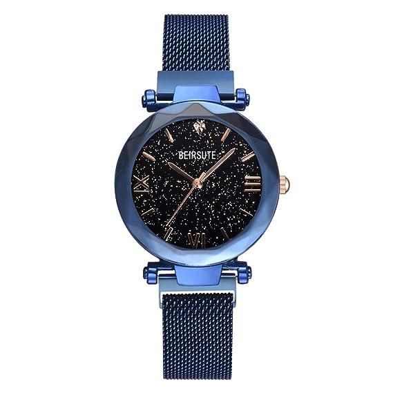 AchidistviQ-Reloj de Pulsera para Mujer, Esfera Redonda magnética sin números, Correa de aleación de Cuarzo, Color Azul: Amazon.es: Relojes