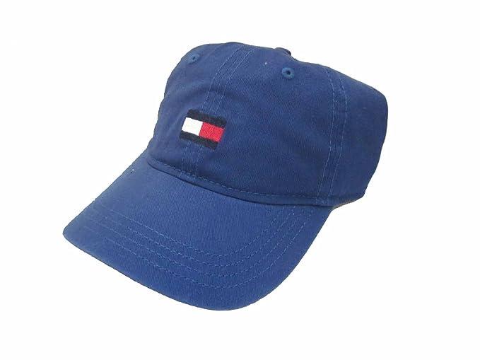 Tommy Hilfiger Mens Flag Logo Cotton Twill Baseball Cap (Denim Blue ... e25293326d89