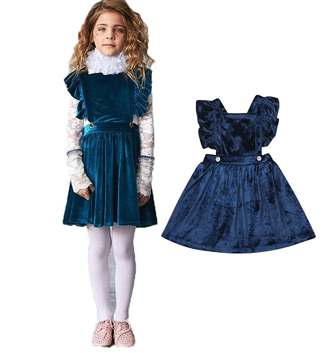 ddf32ce35a Amazon.com  YT couple Infant Girl One Piece Corduroy Pinafore Skirt Solid  Color Blue Suspender Skirt Sleeveless Backless Overall Skirt  Clothing