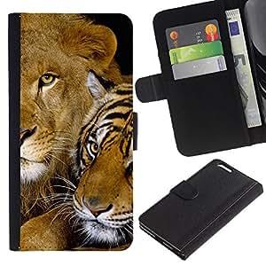 Planetar® Modelo colorido cuero carpeta tirón caso cubierta piel Holster Funda protección Para Apple (5.5 inches!!!) iPhone 6+ Plus / 6S+ Plus ( Tigre lindo del león del bebé felino Amigos de África )
