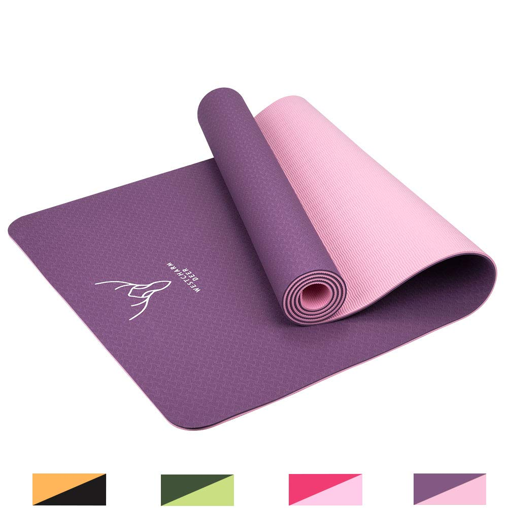 Westcharm Deer Yoga Mat Workout Mat Non-Slip TPE Fitness Exercise Mat with Carrying Strap for Yoga Pilates Floor Exercises 72 X24 x 6mm